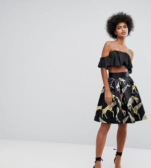 Horrockses Структурированная атласная юбка миди с принтом жирафов. Цвет: мульти
