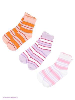 Носки - 3 пары Гамма. Цвет: белый, сиреневый, оранжевый