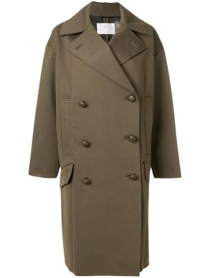 Свободное двубортное пальто Toga. Цвет: зелёный