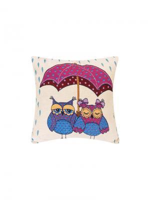 Подушка декоративная Совы под зонтом EL CASA. Цвет: синий, бежевый, розовый