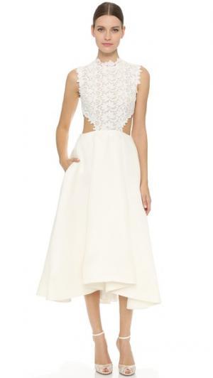 Платье ниже колен Monique Lhuillier. Цвет: белый шелк