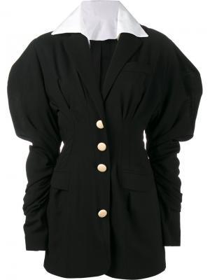 Платье мини с объемными рукавами Jacquemus. Цвет: чёрный