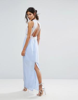 Elise Ryan Контрастное кружевное платье макси с открытой спиной. Цвет: фиолетовый
