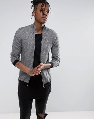 ASOS Черно-белая хлопковая спортивная куртка. Цвет: серый