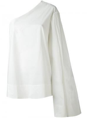 Блузка с одним рукавом Solace. Цвет: белый