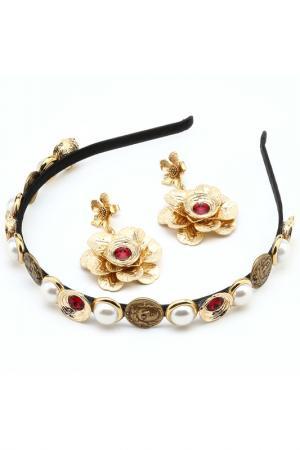 Комплект: диадема, серьги Patricia Bruni. Цвет: красный, золотой