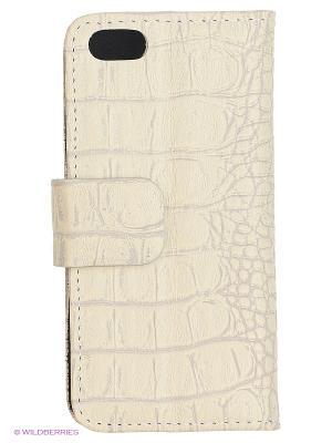 Чехол-книжка для iPhone 5/5S Dimanche. Цвет: светло-бежевый, светло-серый