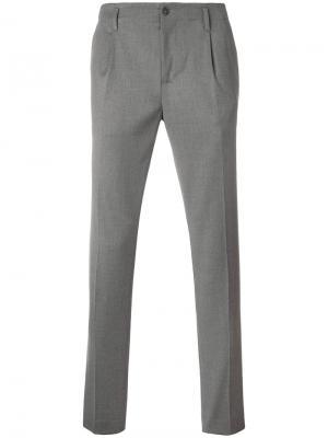 Плиссированные брюки Daniele Alessandrini. Цвет: серый