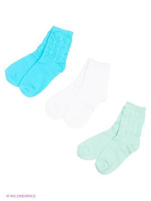 Носки, 3 пары Гамма. Цвет: белый, бирюзовый, голубой