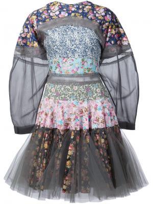 Расклешенное платье в стиле пэчворк Natasha Zinko. Цвет: многоцветный