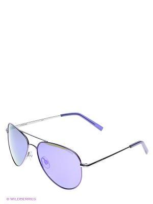 Солнцезащитные очки Polaroid. Цвет: серебристый, синий