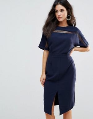 Adelyn Rae Платье с рукавами-кимоно. Цвет: темно-синий