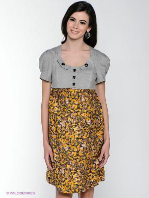 Платье MARY MEA. Цвет: серый, желтый, коричневый