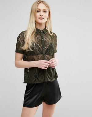Hedonia Кружевная рубашка с короткими рукавами. Цвет: зеленый