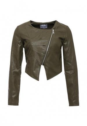 Куртка кожаная Rinascimento. Цвет: хаки