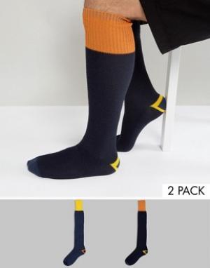 ASOS Набор из 2 пар носков вафельного трикотажа под резиновые сапоги ASO. Цвет: синий