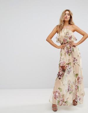 Boohoo Длинное платье-халтер с цветочным принтом. Цвет: красный