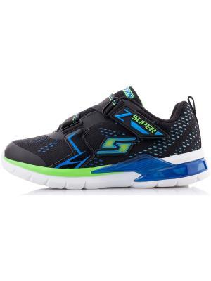 Кроссовки для мальчиков SKECHERS. Цвет: черный, голубой, зеленый