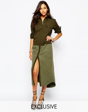 Northmore Denim Longline Utility Shirt Dress. Цвет: khaki green
