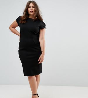 Closet Plus Платье-футляр с присборенными короткими рукавами London. Цвет: черный