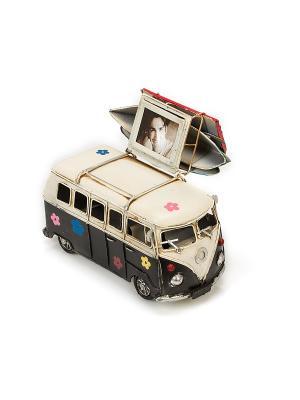 Модель Ретро Автобус чёрный с белым, фоторамкой и копилкой 4х5см PLATINUM quality. Цвет: черный, белый