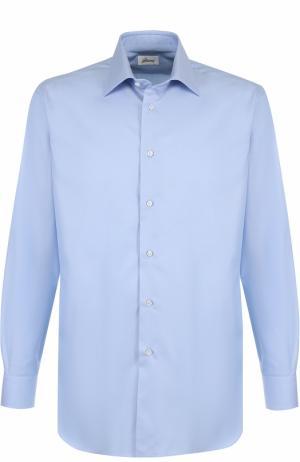 Хлопковая сорочка с воротником кент Brioni. Цвет: светло-голубой