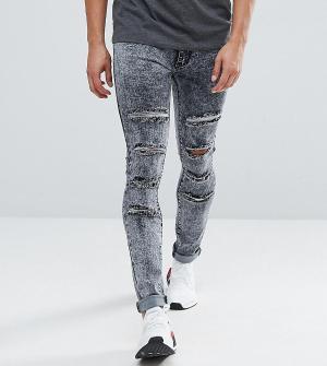 Liquor N Poker Выбеленные серые джинсы скинни с прорехами. Цвет: серый
