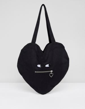 Lazy Oaf Хлопковая сумка в форме сердца с молнией. Цвет: черный