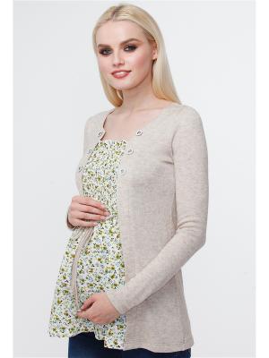 Блузка TUTTA MAMA. Цвет: бежевый, белый, коричневый
