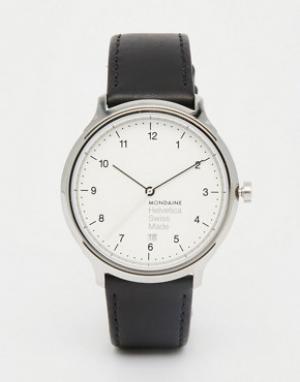 Mondaine Часы с черным кожаным ремешком и корпусом 40 мм Helvetica. Цвет: черный