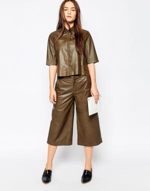 Muubaa Кожаная юбка-шорты Bello. Цвет: зеленый