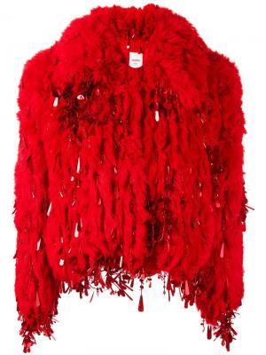 Куртка из искусственного меха Ashish. Цвет: красный