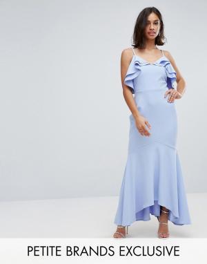 John Zack Petite Платье макси асимметричной длины. Цвет: синий