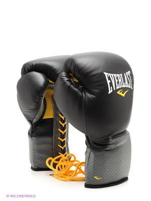 Перчатки тренировочные на шнуровке Pro Leather Laced 16oz Everlast. Цвет: черный