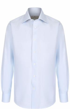 Хлопковая сорочка с итальянским воротником Canali. Цвет: голубой