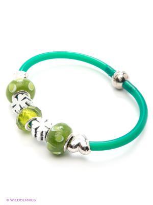 Браслет Bijoux Land. Цвет: зеленый, серебристый