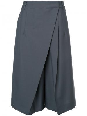 Укороченные брюки с плиссированной деталью Jil Sander. Цвет: серый