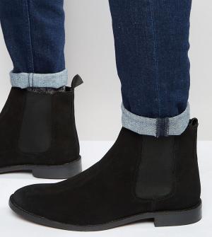 ASOS Черные замшевые ботинки челси для широкой стопы. Цвет: черный