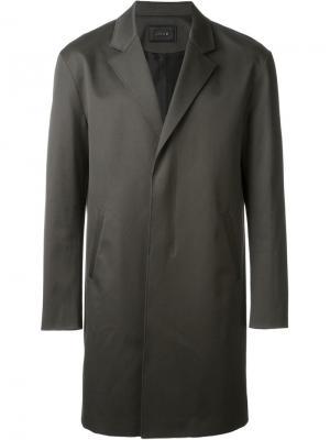 Пальто на потайной застежке System Homme. Цвет: зелёный