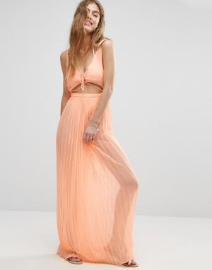 ASOS Пляжное плиссированное платье макси. Цвет: оранжевый