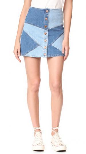 Джинсовая юбка в лоскутной технике Madewell. Цвет: серж выцветший