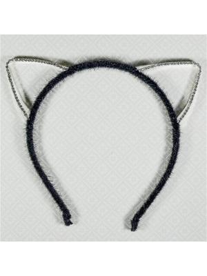 Ободок ушки со стразами Bizon. Цвет: серебристый