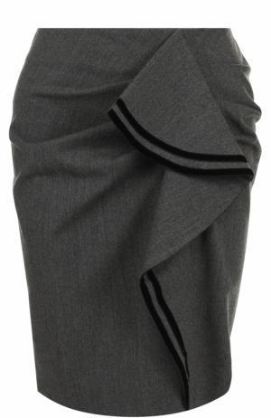 Шерстяная мини-юбка с оборками Tara Jarmon. Цвет: серый