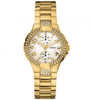 Золотистые часы с отделкой кристаллами Guess