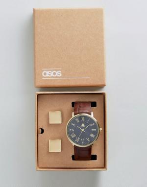ASOS Подарочный набор с часами и запонками. Цвет: коричневый