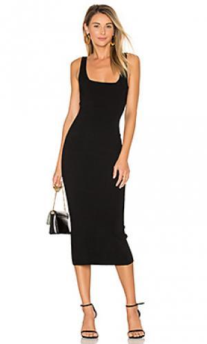 Миди платье с квадратным вырезом Autumn Cashmere. Цвет: черный