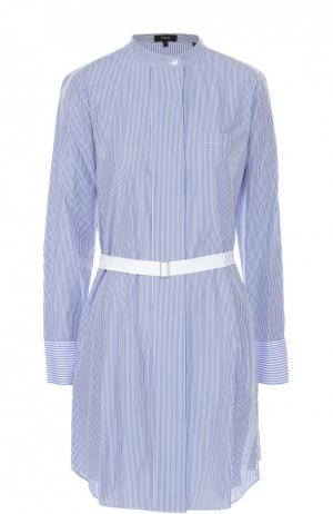Удлиненная блуза в полоску с накладным карманом и поясом Theory. Цвет: голубой