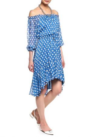 Платье DIANE VON FURSTENBERG. Цвет: голубой, принт белый горох