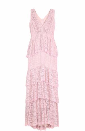 Кружевное платье-макси с оборками Tadashi Shoji. Цвет: светло-розовый