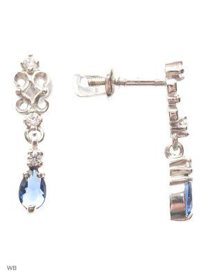 Серьги-гвоздики (пуссеты) ACCENT jewelry. Цвет: синий